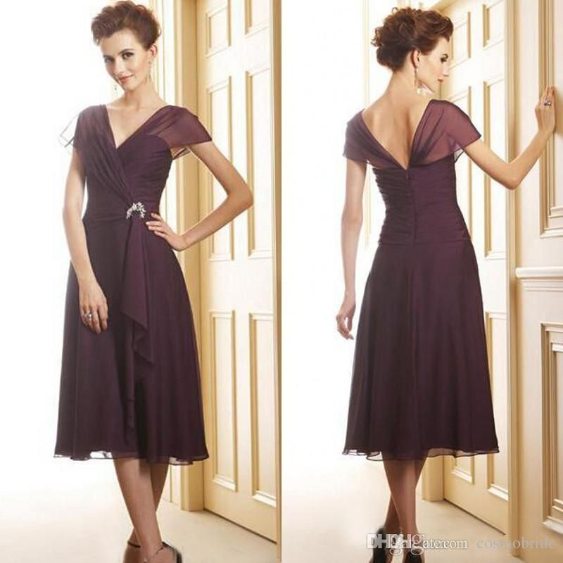 2017 modest tea length mother of the bride dresses chiffon ruched ...