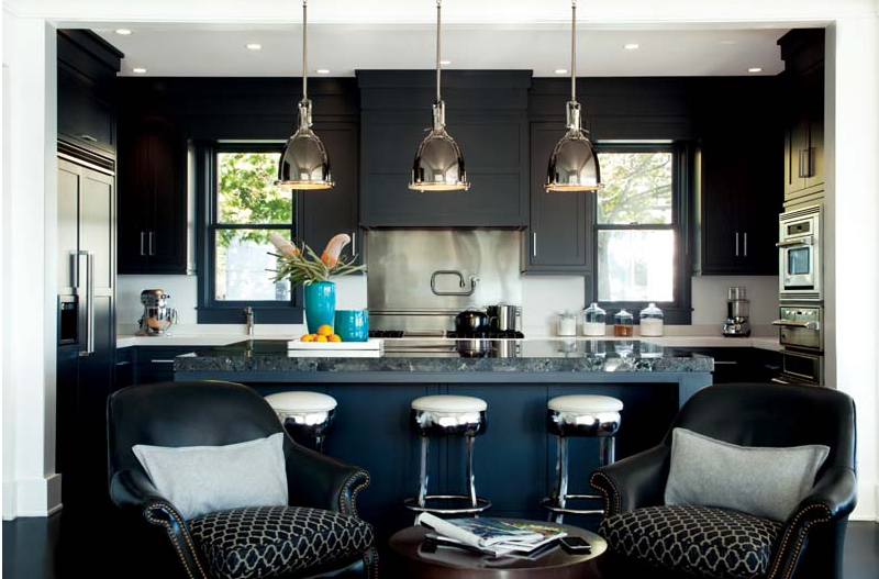 A Magnificent Black Marble (or Granite) Kitchen - I want black cabinets one day.