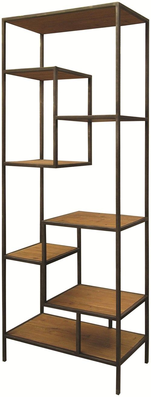 Four Hands Irondale Weathered Helena Open Bookcase Estante Aco