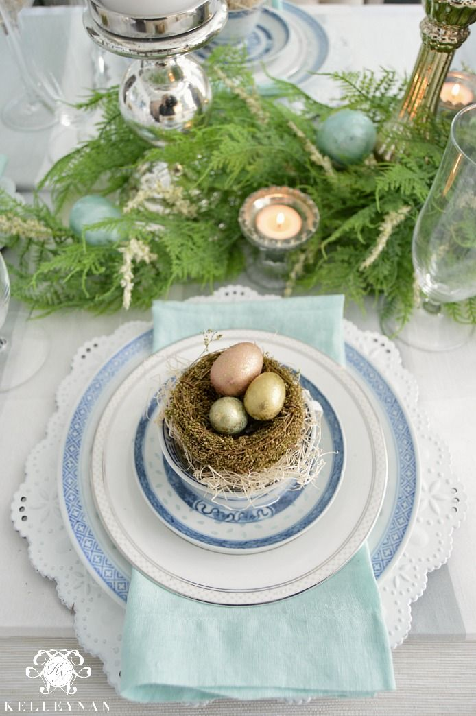 Blue and White Easter Spring Table Place Setting with Birds Nest