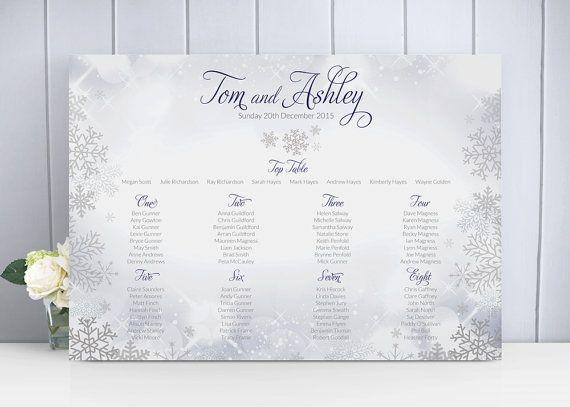 Snowflake Winter Christmas Wedding Table Plan