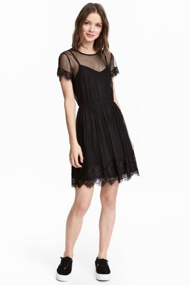 Vestido tul negro mujer