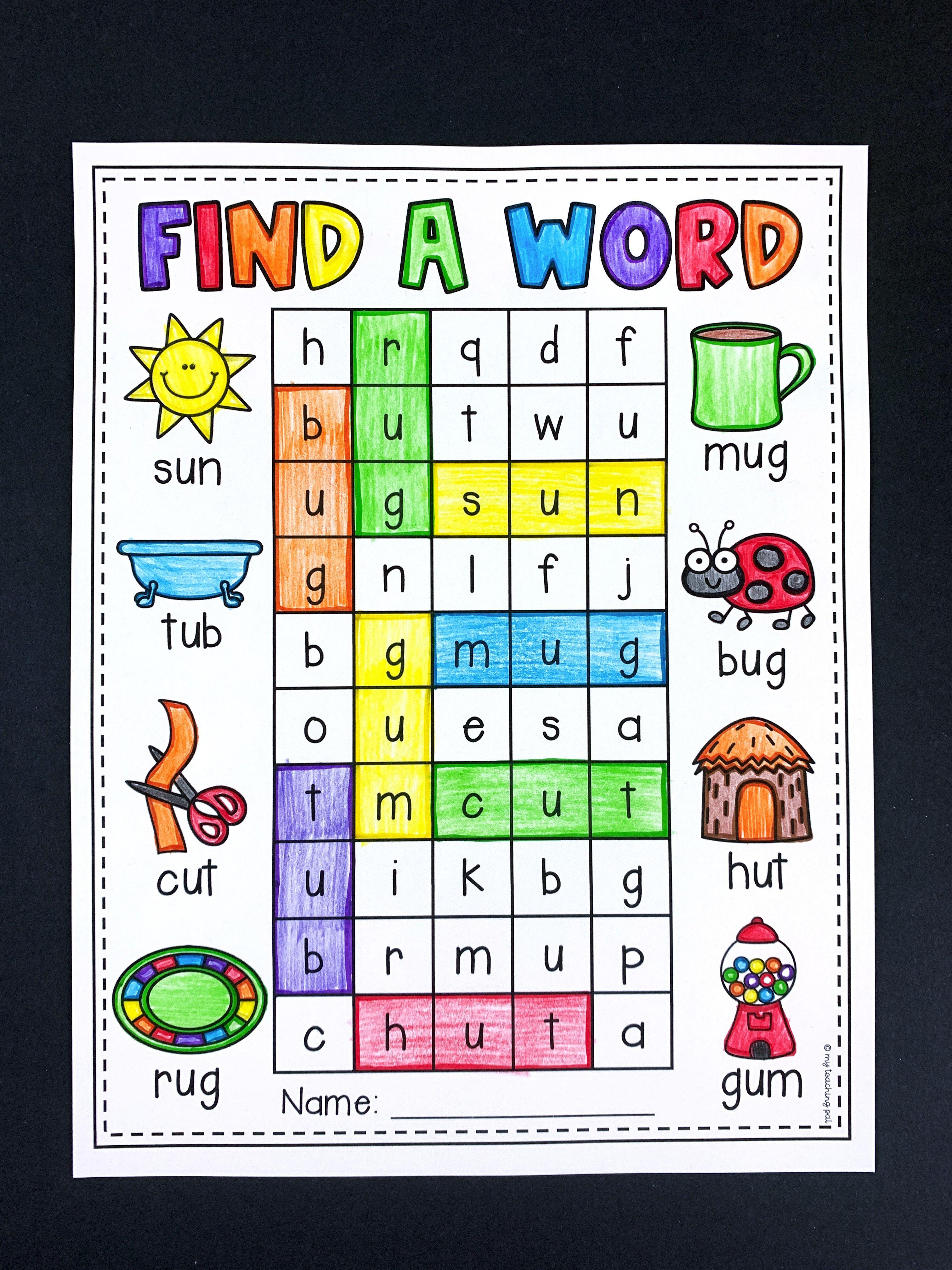 Find A Word Cvc Worksheets Math Activities Preschool Learning English For Kids Cvc Activities [ 4032 x 3024 Pixel ]