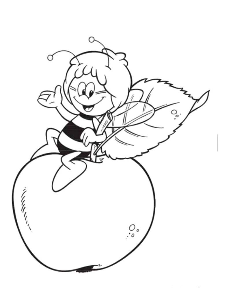 Maya The Bee Is On The Big Apple Coloring Page | Kids Coloring Pages ...