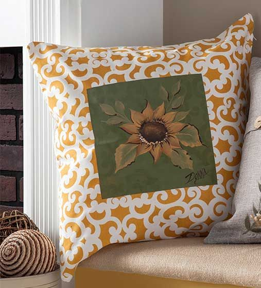 Sunflower Throw Pillow - paint on fabric with chalk paint