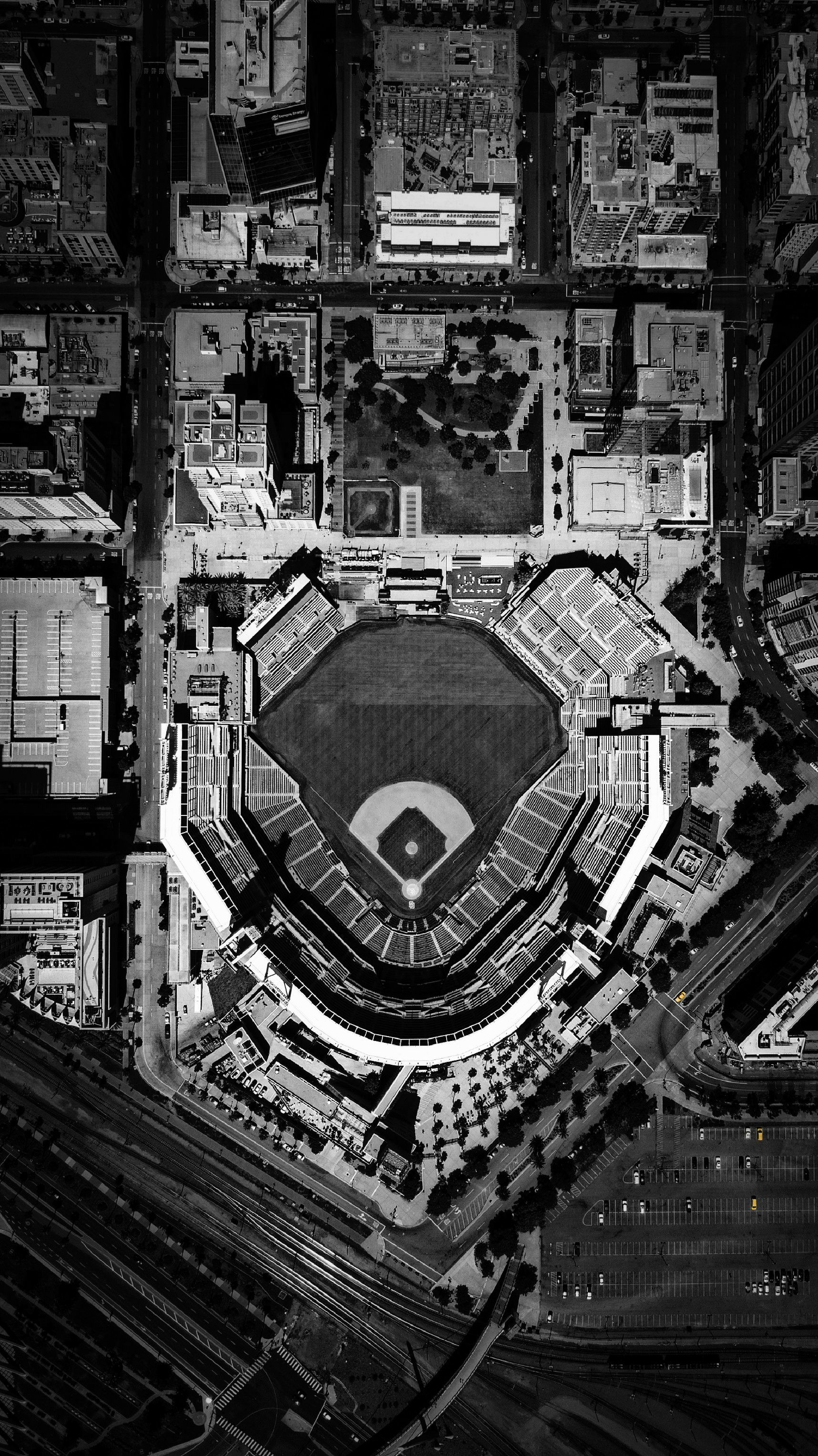 Black And White Drone Photo Of Petco Park In Downtown San Diego