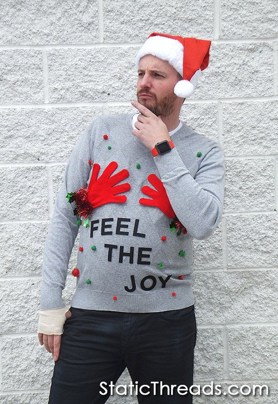 ugly christmas sweater naughty men feel the joy funny sweater available now on staticthreads1etsycom - Feel The Joy Christmas Sweater