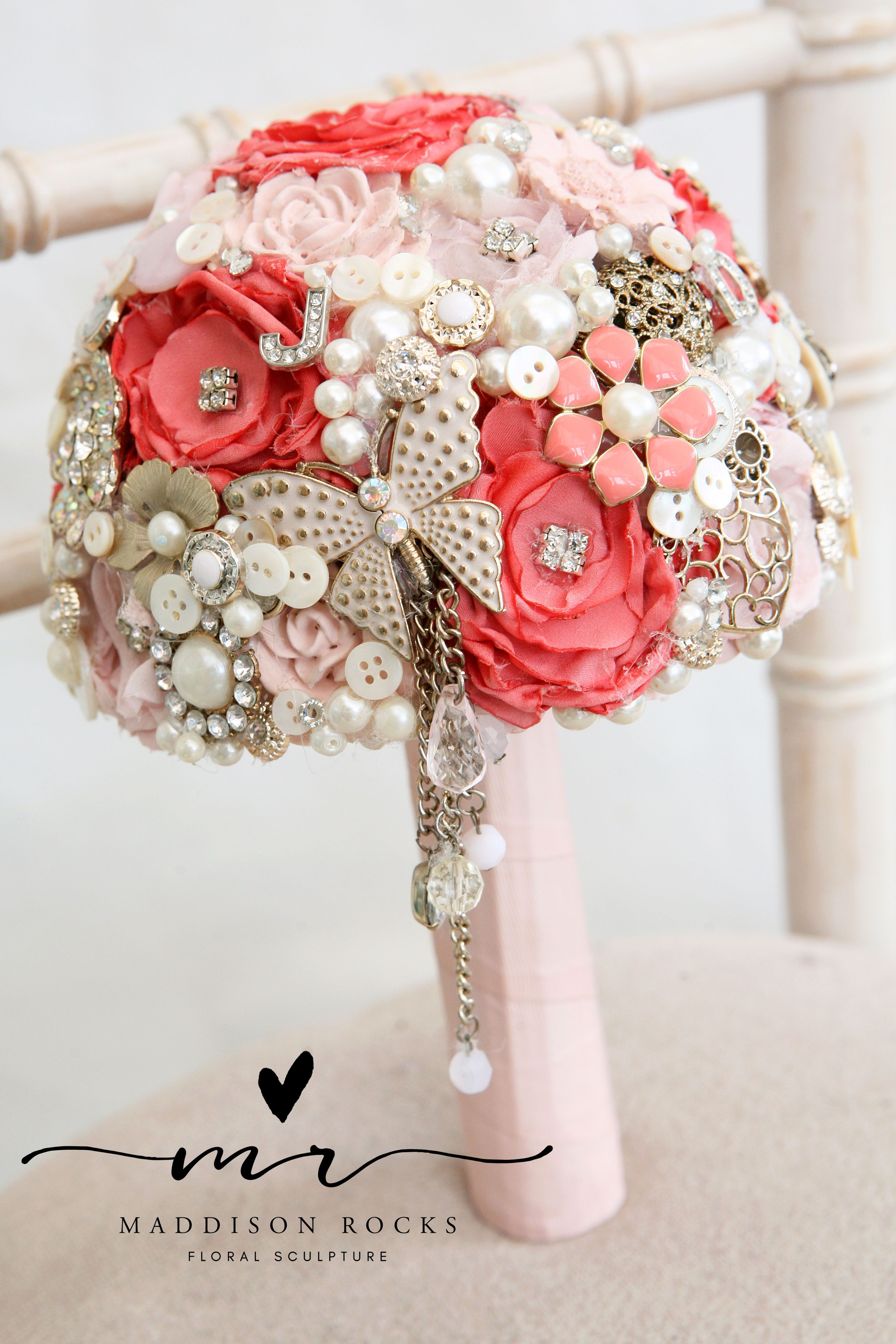Bridesmaid Coral And Pink Butterfly Brooch Bouquet Buchete Mireasa