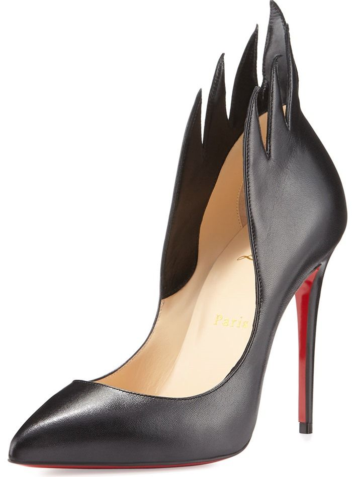 c768915789e Christian Louboutin  Victorina  Flame Topline Pointy Toe Pump Black Leather
