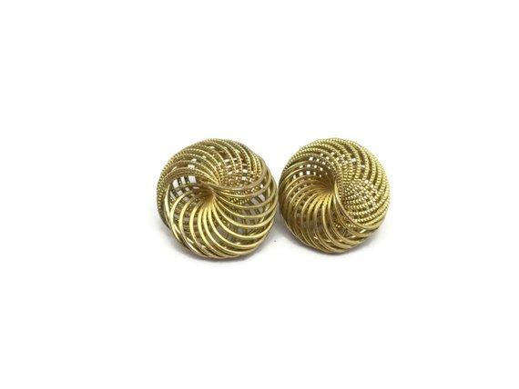 dfe240bd7506a Knot earrings Vintage swirl earrings Pierced brushed gold tone metal ...