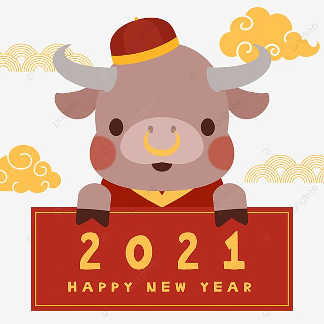 Happy New Year 2021 Cute Calf, 2021, Year Of The Ox, Cattle PNG Transparent Clipart Image and PSD File for Free Download