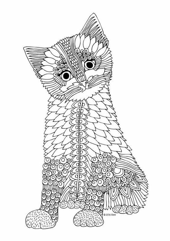 adult coloring pages coloring books color sheets kittens butterflies le chat zentangles tier templates - Coloring Pages Kittens 2