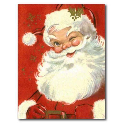 Vintage lustige blinzelnde Weihnachtsmann-Postkarten. ...-#blinzelnde