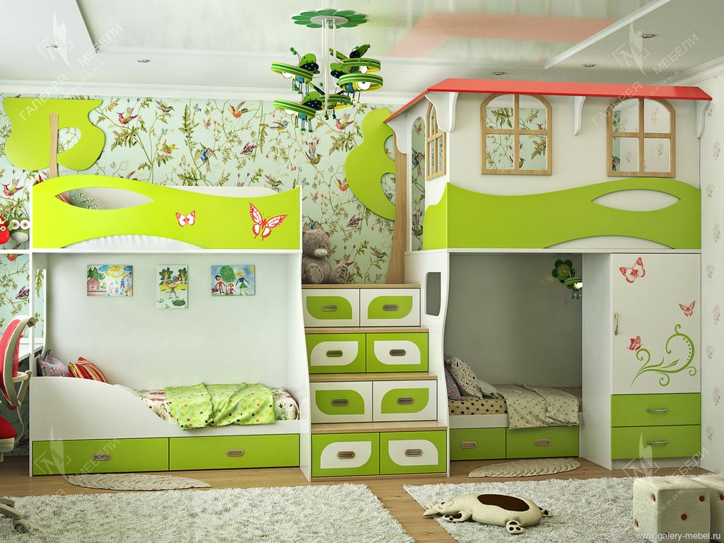 Детские спальни на 3 детей 39