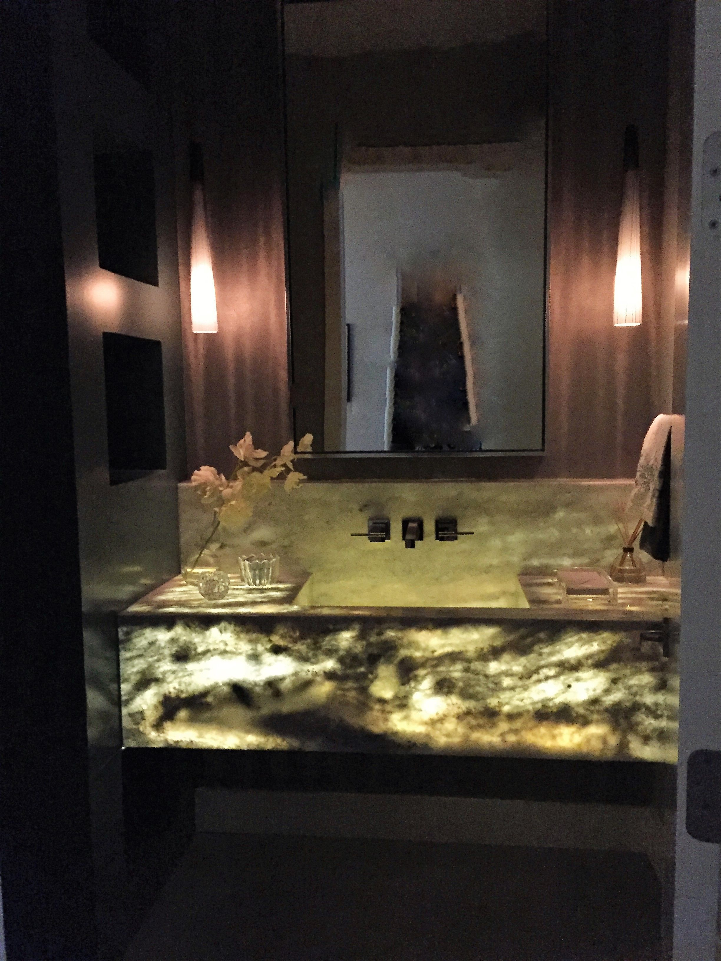Dramatic Powder Bath wall mounted vanity with LED lighting from ...