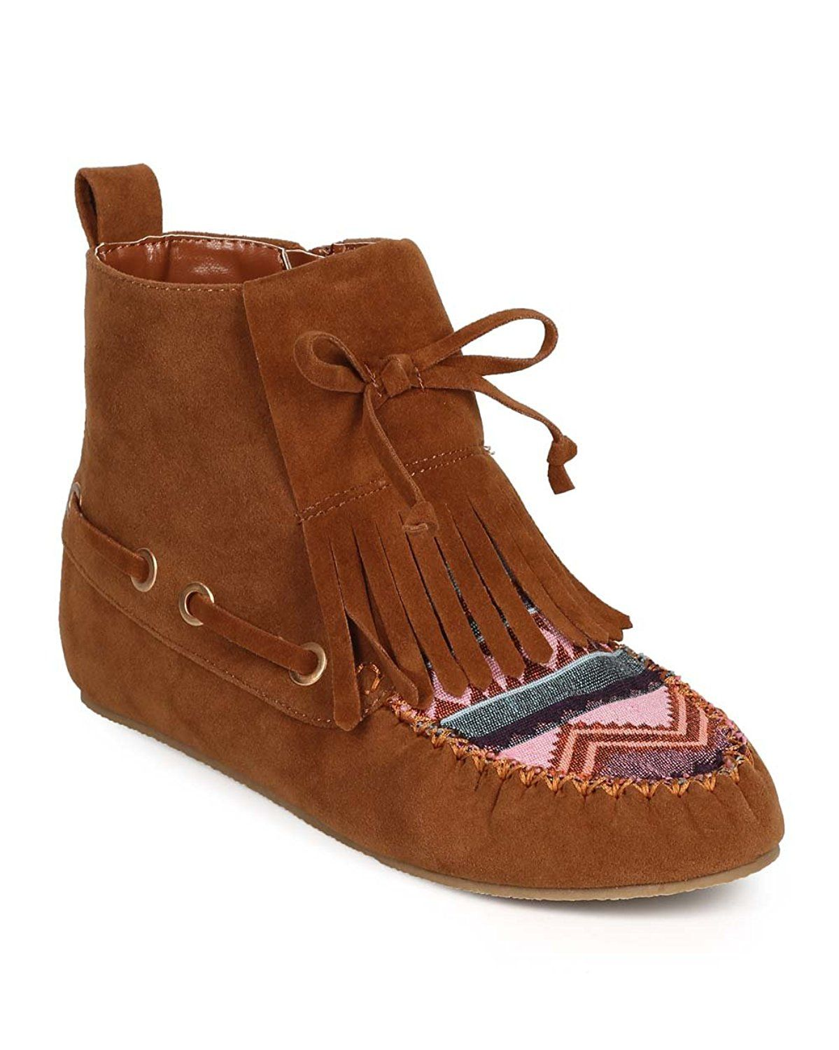 fda27ea98767 Nature Breeze DH56 Women Suede Tribal Tapestry Moc Toe Fringe Bow Moccasin  Bootie - Tan