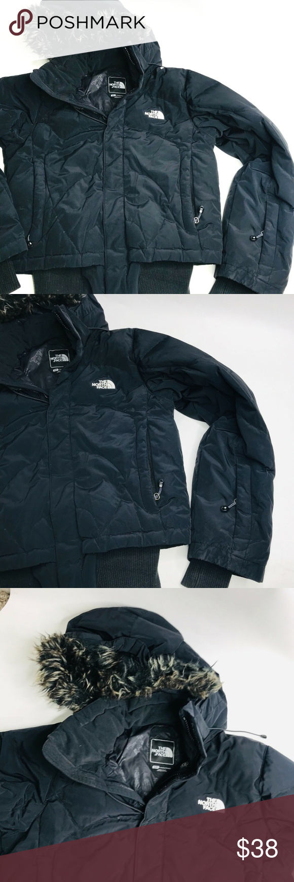 The North Face Women Black Puffer Hood Jacket Sz S The