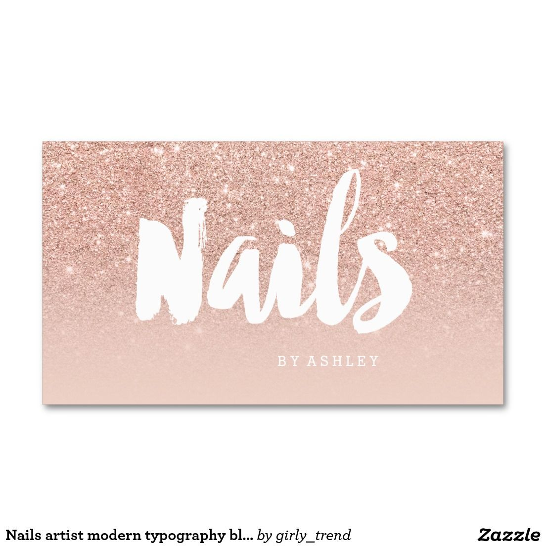 Nails artist modern typography blush rose gold business card ...