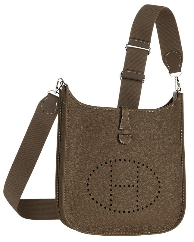 Hermes Evelyn Cross Body Bag In Grey Leather Front View