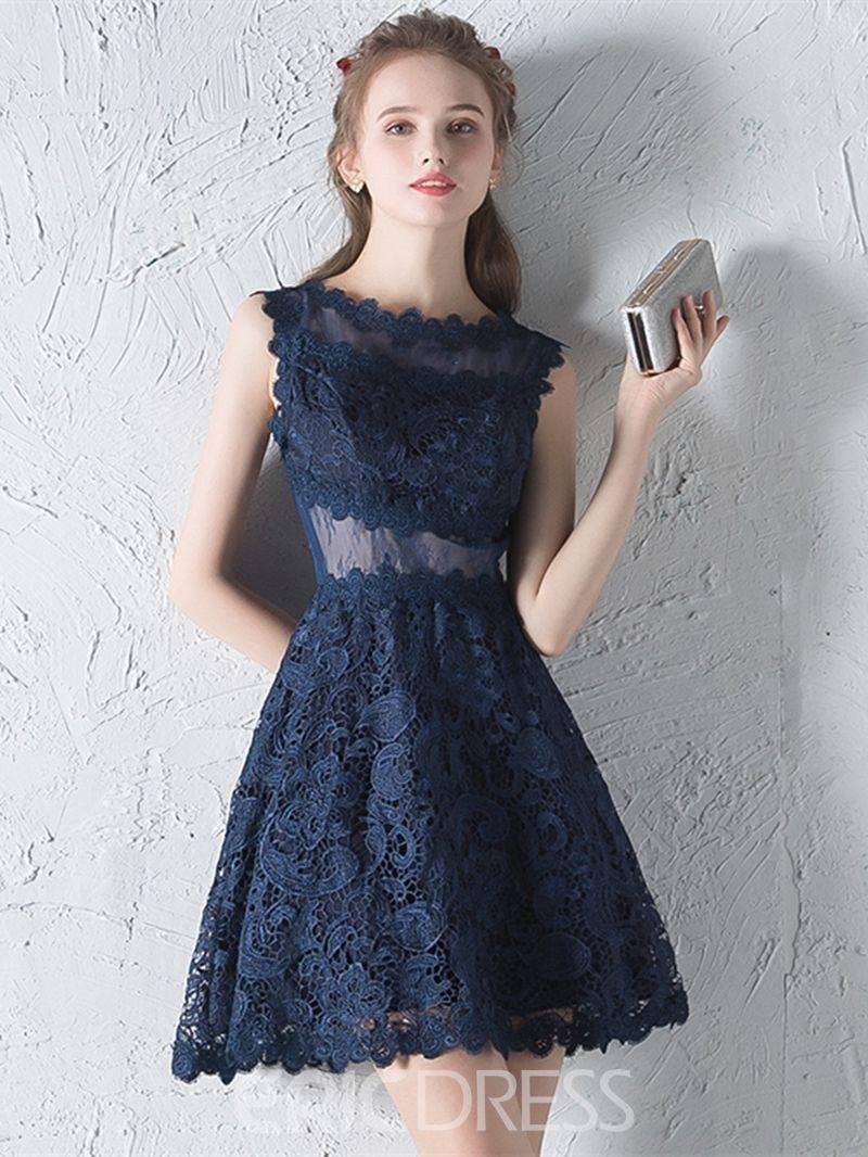 19d48c9ddca6 Ericdress una línea applique corto / mini vestido de encaje ...