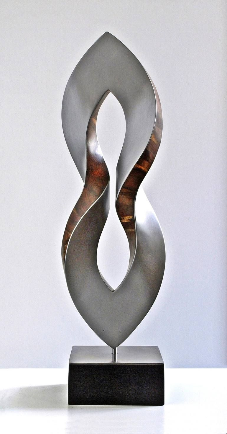 Open Torsion Sculpture Metal Art Sculpture Steel Art Wood Sculpture