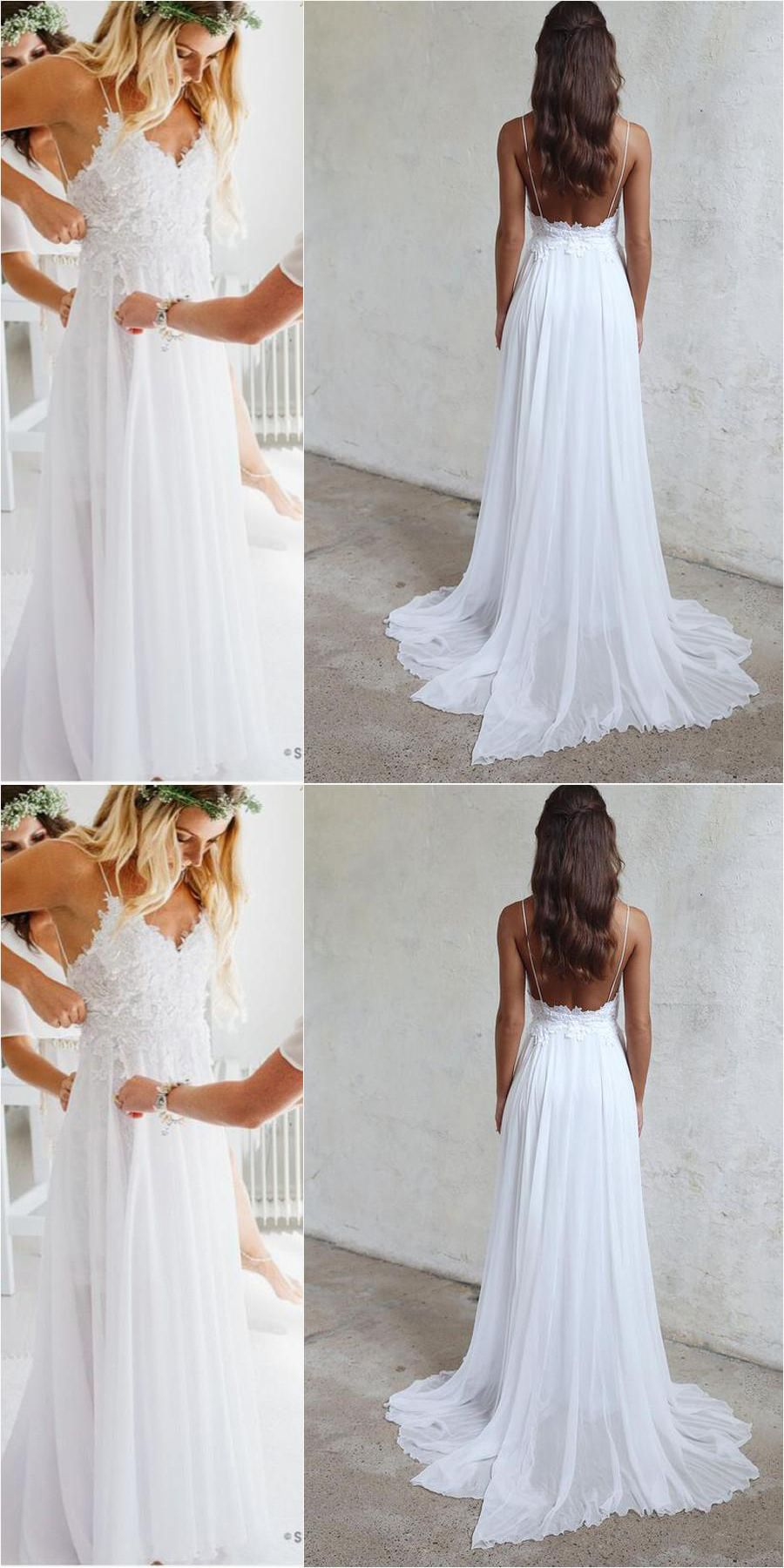 Spaghetti Straps White Long Chiffon Lace Beach Wedding Dresses