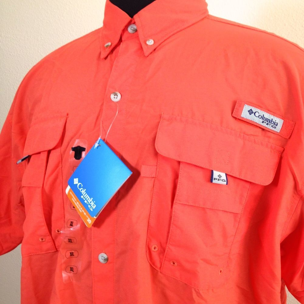 Columbia pfg bahama ii mens sz xl orange shirt performance for Mens fishing shirts
