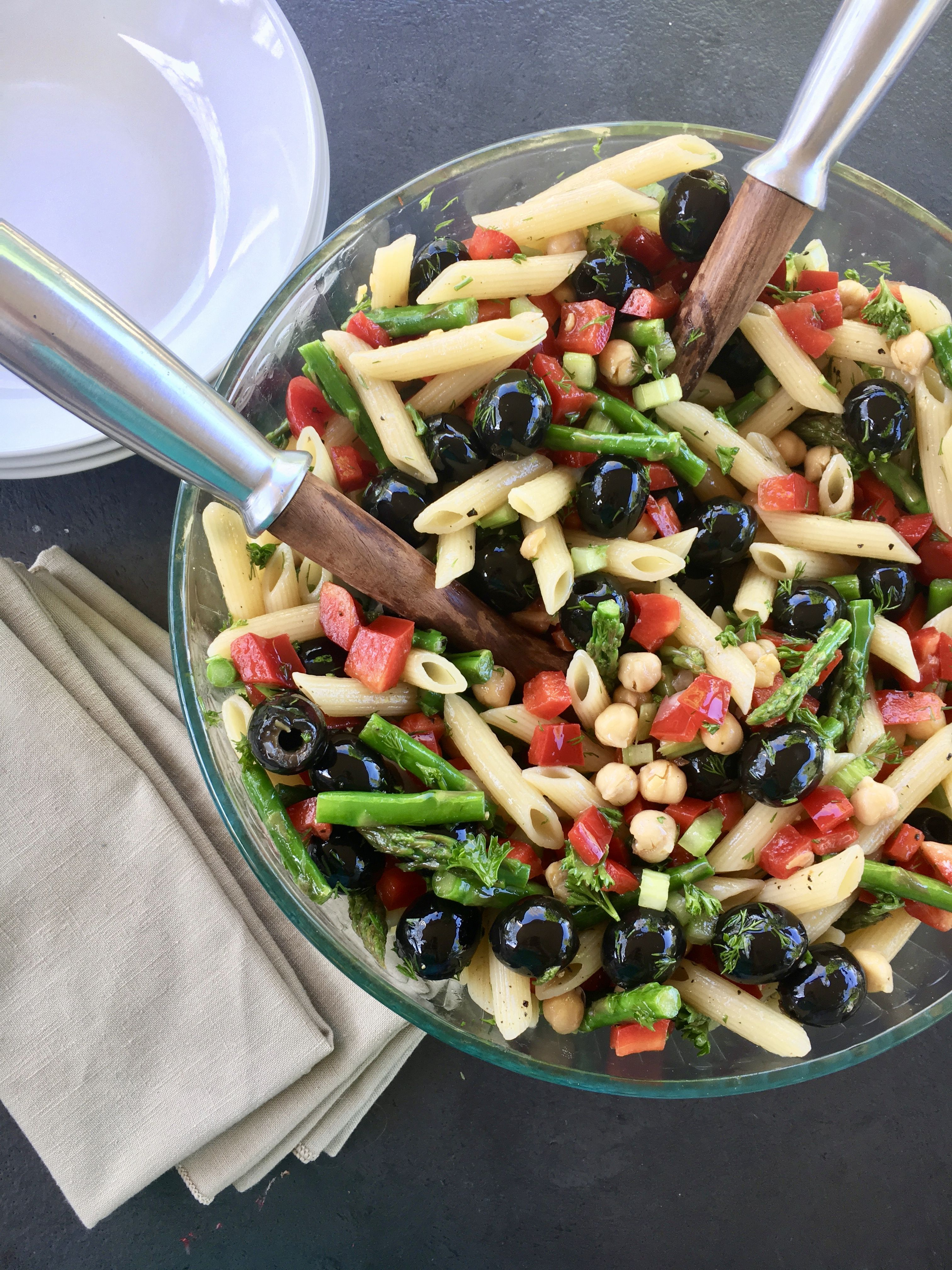 Simple Pasta Salad With Asparagus Bell Pepper Olives And