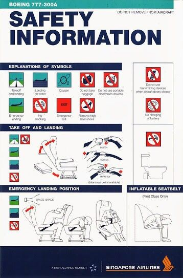 Singapore Airlines 777-300A Safety Card