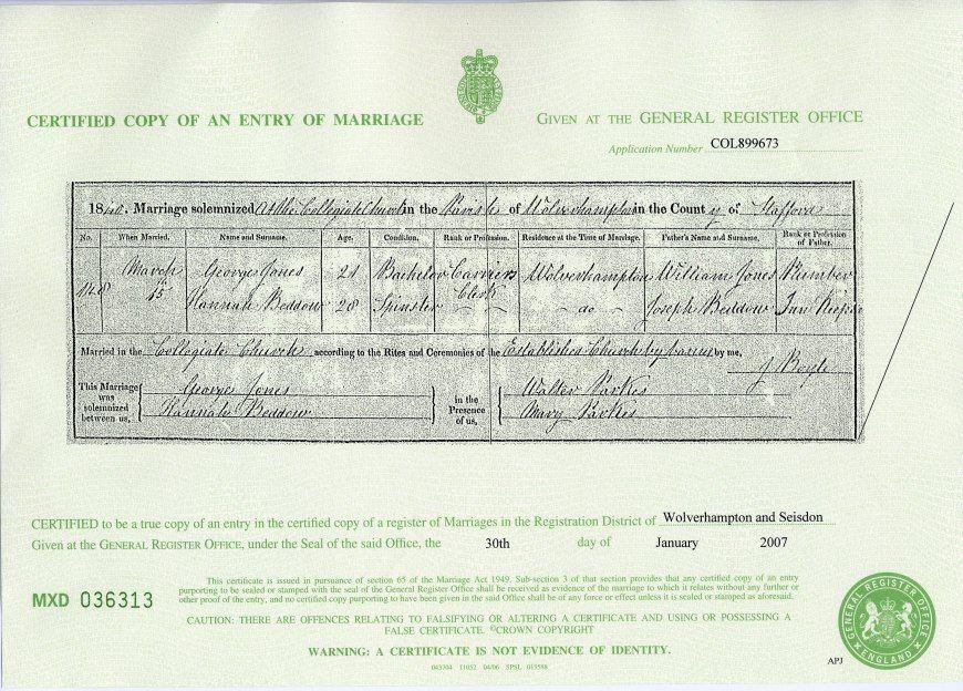 Marriage Certificate Jones & Hannah Beddow