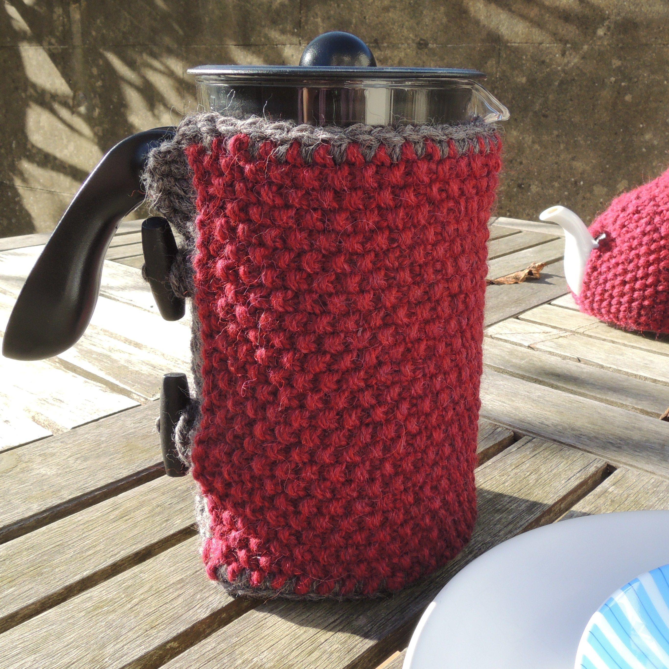 moss stitch cafetiere cosy | Funda tejidas para termo. | Pinterest ...