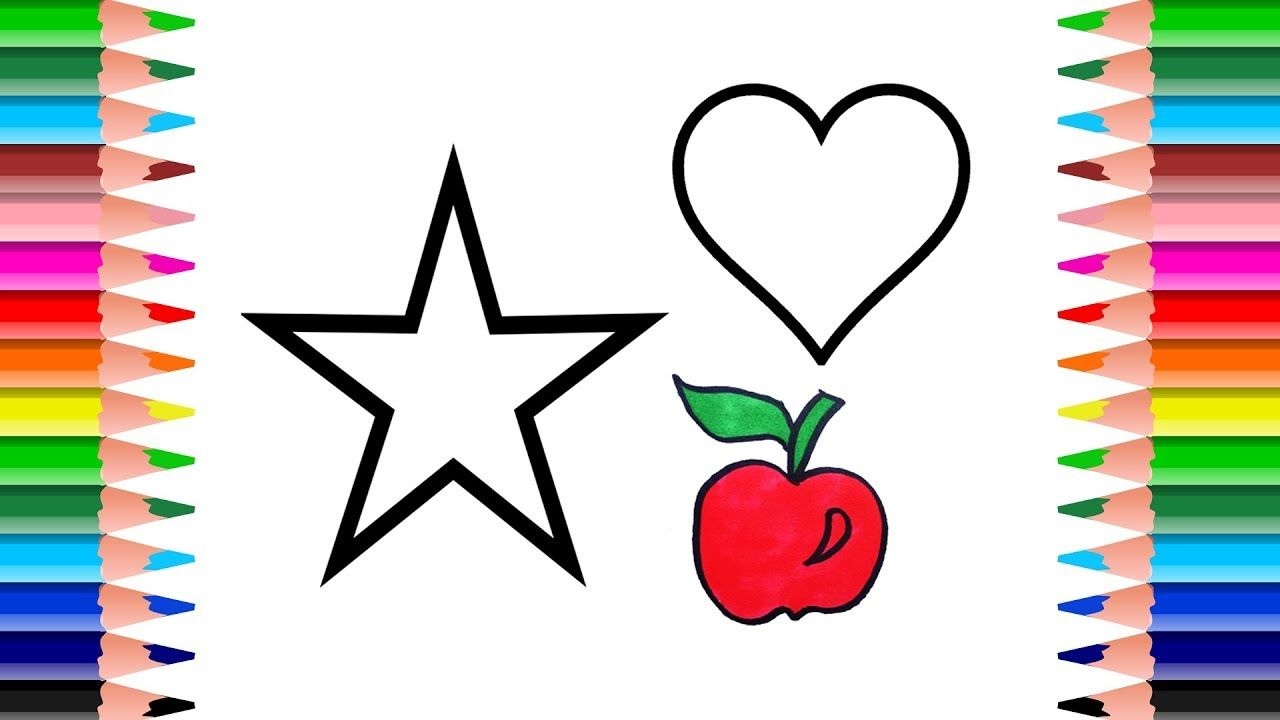 How To Draw Star Heart And Apple Drawing And Paint For Kids Learn Co Learning Colors Painting For Kids Kids Learning