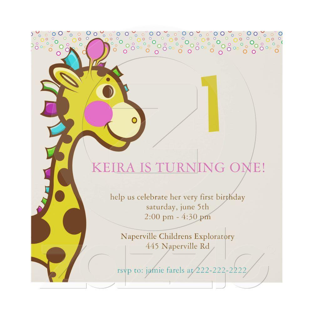 Wally the Giraffe 1st Birthday Party invitations | Giraffe, Party ...