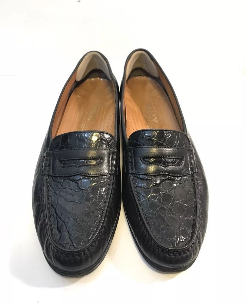 5460ff5eb458  725 Bally Genuine Crocodile 13 B Black Penny Loafer Mens Dress Shoes  Narrow Moc  Bally  LoafersSlipOns