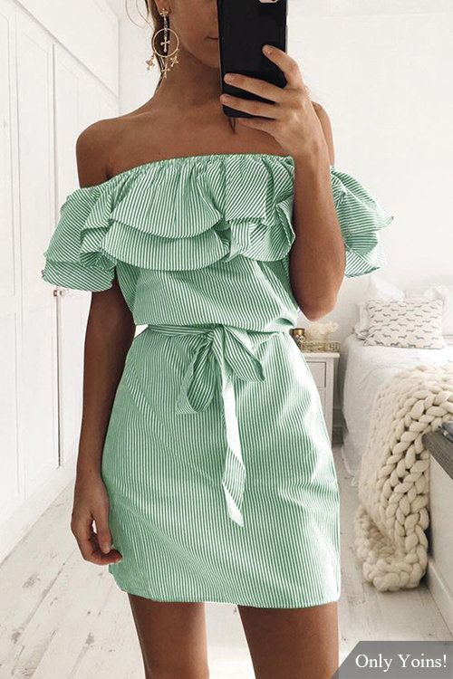 739aeb6a4216 Green Off Shoulder Stripe Pattern Flouncy Details Dress