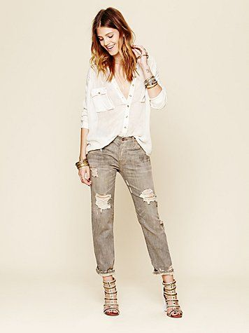 Free People // Oil Stained Destroyed Boyfriend Jeans