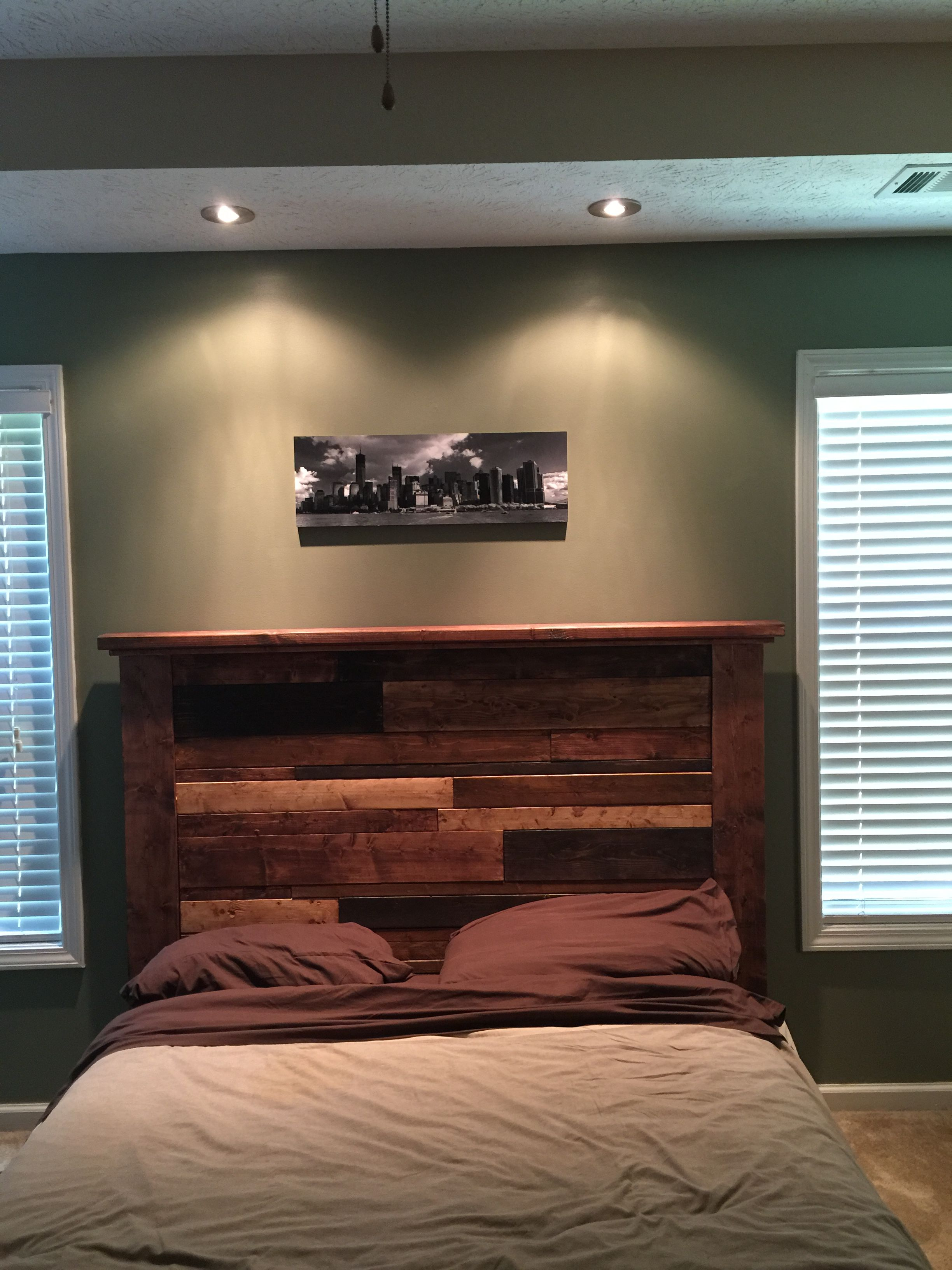 New platform bed with headboard. Added some recessed