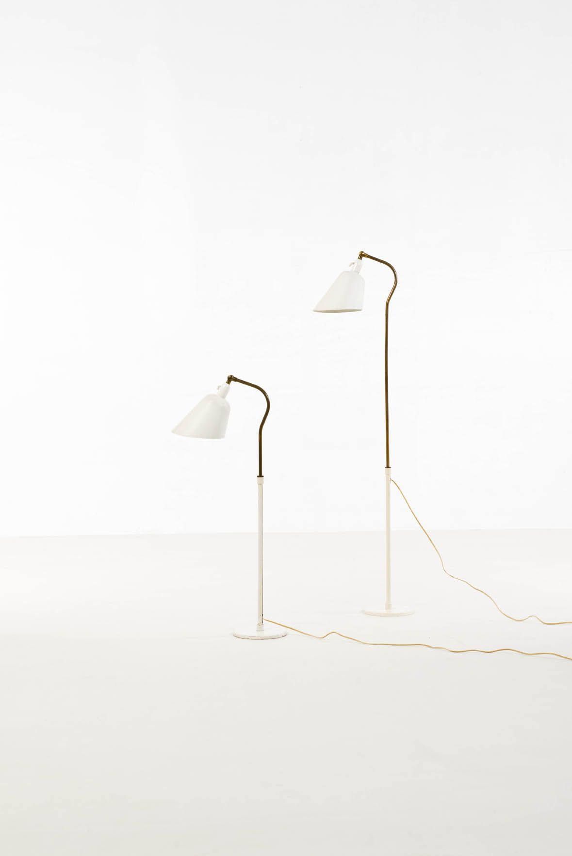 Arne Jacobsen; Brass and Enameled Metal Floor Lamps by Louis ...