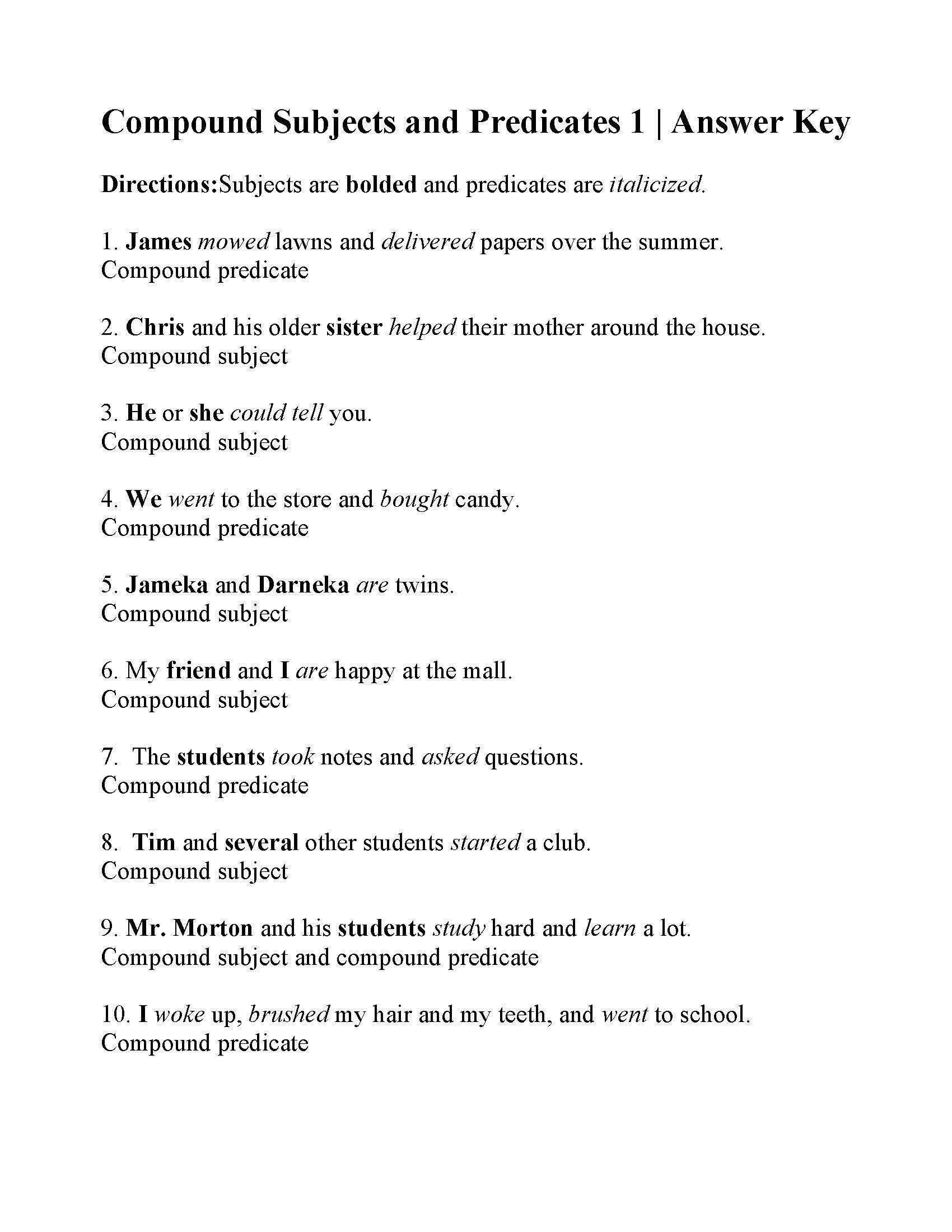 Complete And Simple Predicates Worksheet Pound Subjects