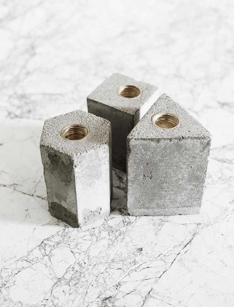 DIY Geometric concrete candle holders (no tutorial). Could just make mold/form in cardboard or thick taped paper