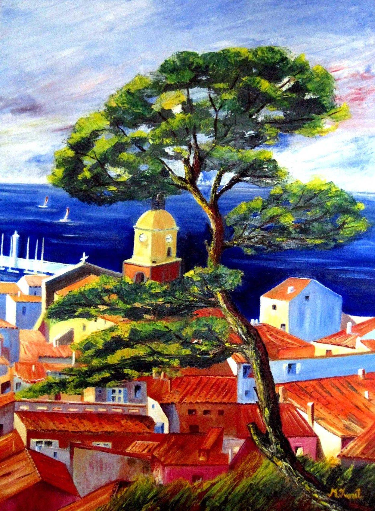Port De Saint Tropez Huile Sur Toile 70 X 50 Peinture Tableau