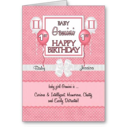 Baby Girl S 1st Birthday Gemini Zodiac Card Zazzle Com Baby