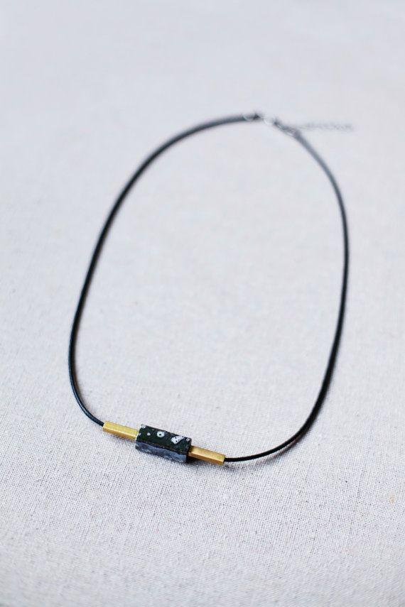 Anhänger Halskette / schwarz Nekclace / Minimal von BlueBirdLab