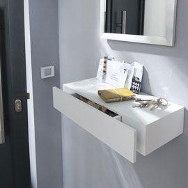 tablette avec tiroir blanc form 50 cm maison house entrance entry doors et shelf. Black Bedroom Furniture Sets. Home Design Ideas