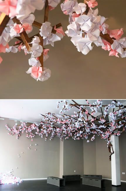 Do An Origami Installation In Store Like This Cherry Tree Origami Or A Wave Of Butterflies Or Birds Cherry Blossom Origami Origami Installation Origami Flowers