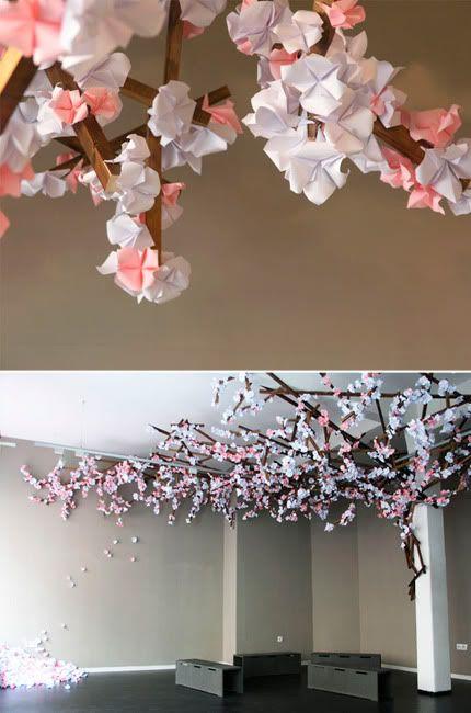 fleurs de cerisier en origami a fixer sur une branche naturelle avec un oiseau origami home. Black Bedroom Furniture Sets. Home Design Ideas