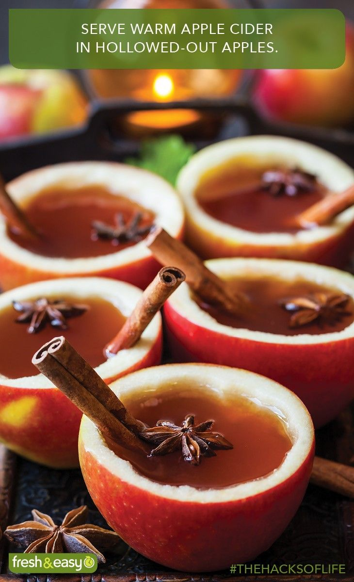 Warm cider in apple cups? Fewer dishes! #holidayhacks #TheHacksofLife #HacksSweepstakes
