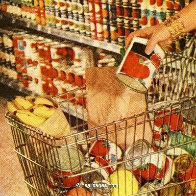 Shopping Cart Filled with Groceries- csa images
