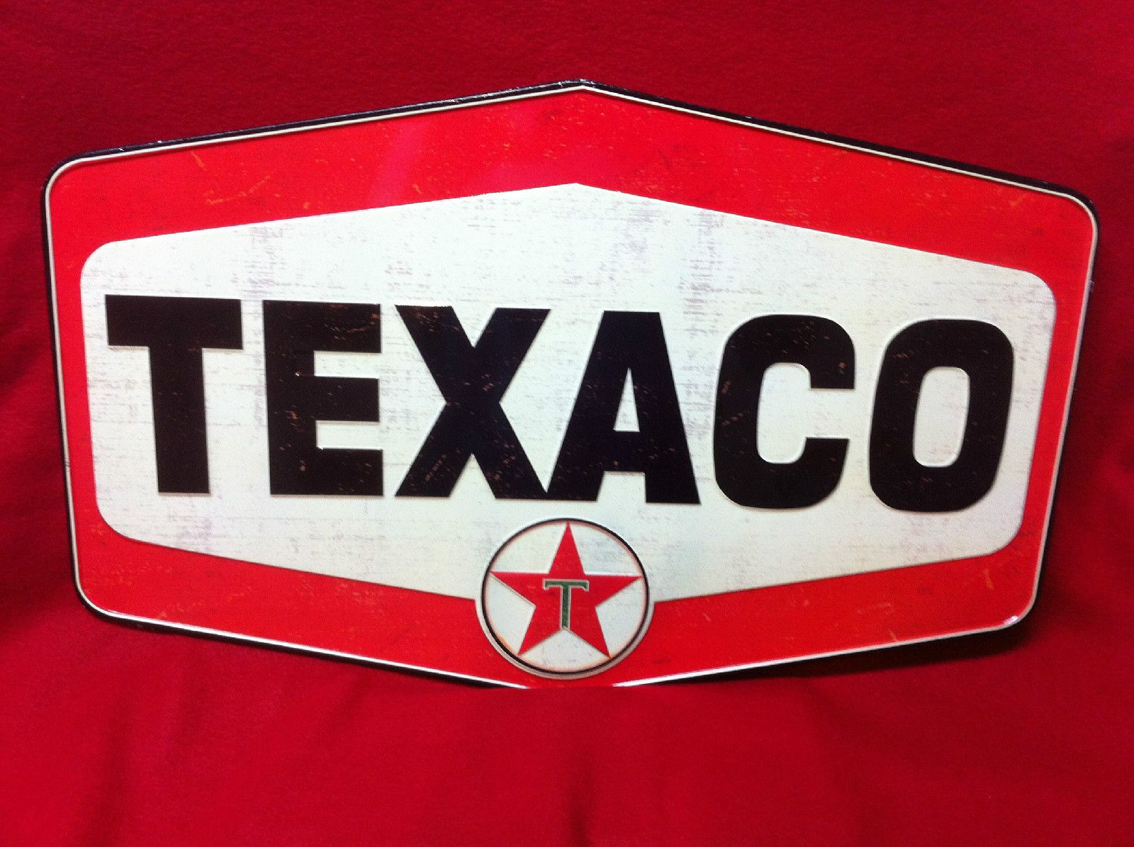 "Large Vintage Style 24/"" Texaco Gas Station Signs Man Cave Garage Decor Oil Can"