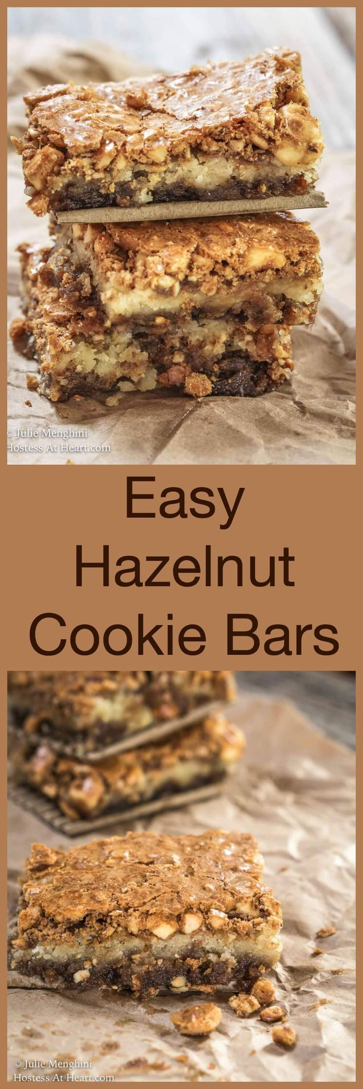 This ooey gooey Hazelnut Cookie Bar recipe is quick, easy, delicious and best of all semi-homemade. It's perfect for a crowd and easy to share. | HostessAtHeart.com